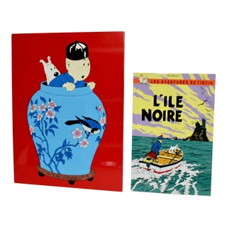 TinTin Lacquer Wall Hangings - a Pair For Sale