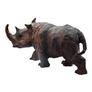 Hand-Carved Wooden Rhino