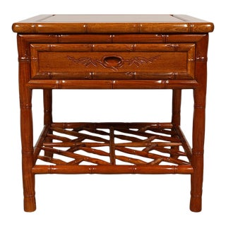 Mid 20th Century Vintage Chinese Carved Rosewood Night Stand For Sale