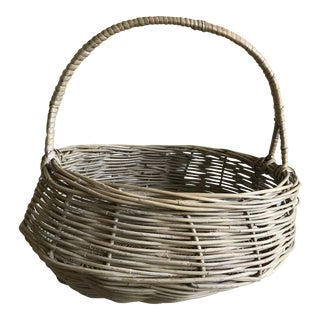 Extra Large Wood Woven Decor Basket For Sale