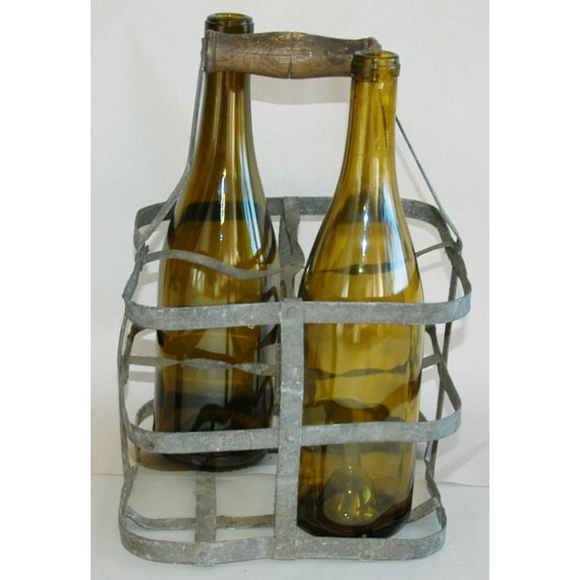 1930s French Gray Porte Bouteille Zinc 4-Bottle Wine Carrier For Sale In Los Angeles - Image 6 of 8
