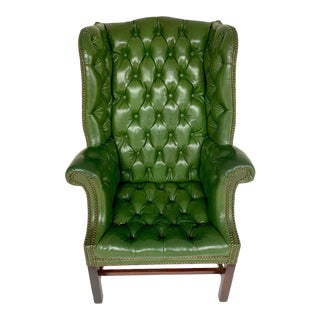 George III Mahogany Green Leather Chesterfield Wing Chair For Sale