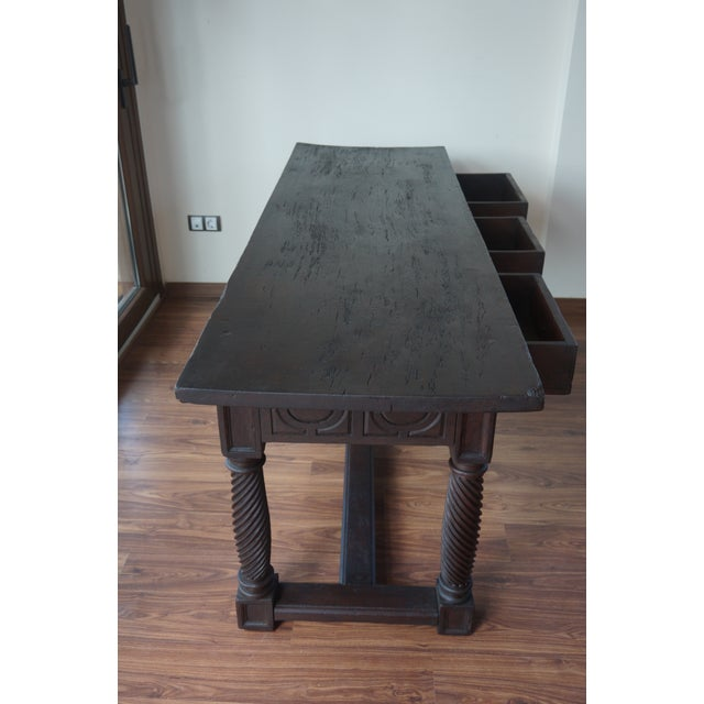 18th Spanish Baroque Carved Walnut Refectory Table For Sale - Image 9 of 10