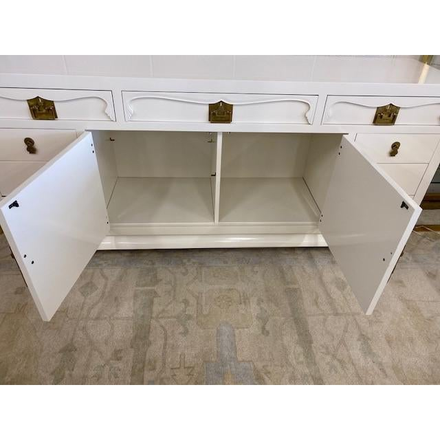 Paint Henredon Chinoiserie Painted White Credenza For Sale - Image 7 of 10
