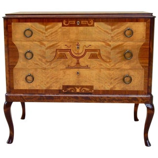 1920s Neoclassical Eric Chambert Inlaid Chest of Drawers For Sale