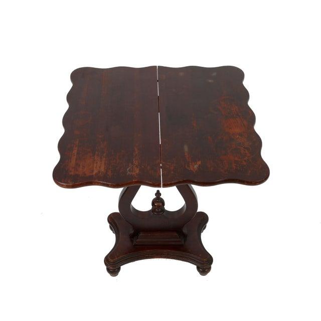 Vintage Flip-Top & Harp Base Side Table - Image 8 of 8