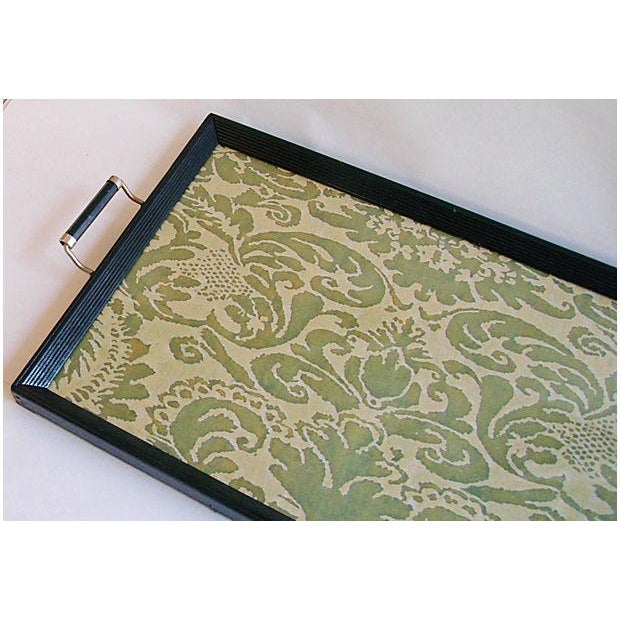 1930s Serving Tray W/ Italian Fortuny Fabric - Image 4 of 8