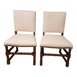 Walnut Jacobean Style Chairs Upolstered in Linen With Bronze Nail Head Trim - a Pair