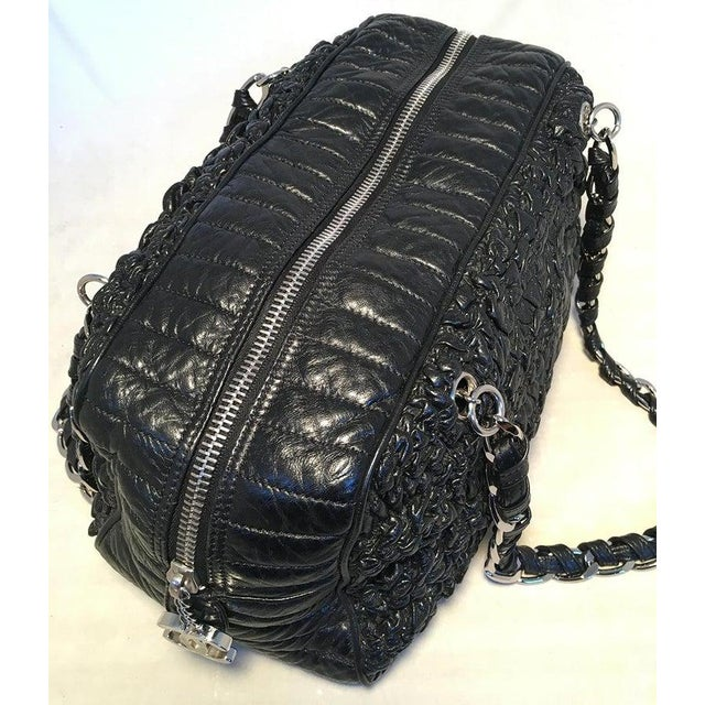 Black Chanel Black Quilted and Ruched Leather Shoulder Bag Shopping Tote For Sale - Image 8 of 12