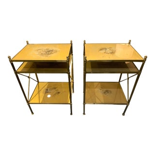 Bagues Brass Tiered Side Tables - a Pair For Sale