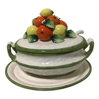 20th Century Majolica Fruit Floral Soup Tureen For Sale