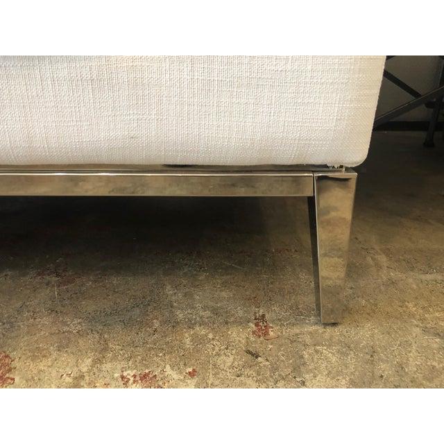 2010s Restoration Hardware Italia Taper Arm White Sofa With Chrome Finish Legs For Sale - Image 5 of 6