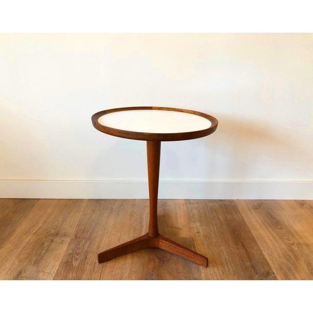 White Hans Anderson Mid-Century Danish Teak Pedestal Accent Table For Sale - Image 8 of 8
