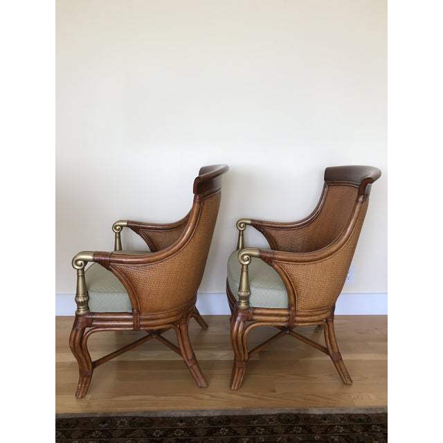 Ethan Allen Wicker Rattan Chairs - a Pair For Sale - Image 11 of 13