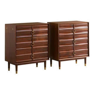 Pair of Mid Century Mahogany Nightstand Cabinets C.1960 For Sale