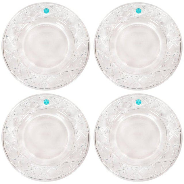 Set of Four Glass Basketweave Dessert/Hors d'Oeuvres Plates by Tiffany & Co. For Sale - Image 9 of 9