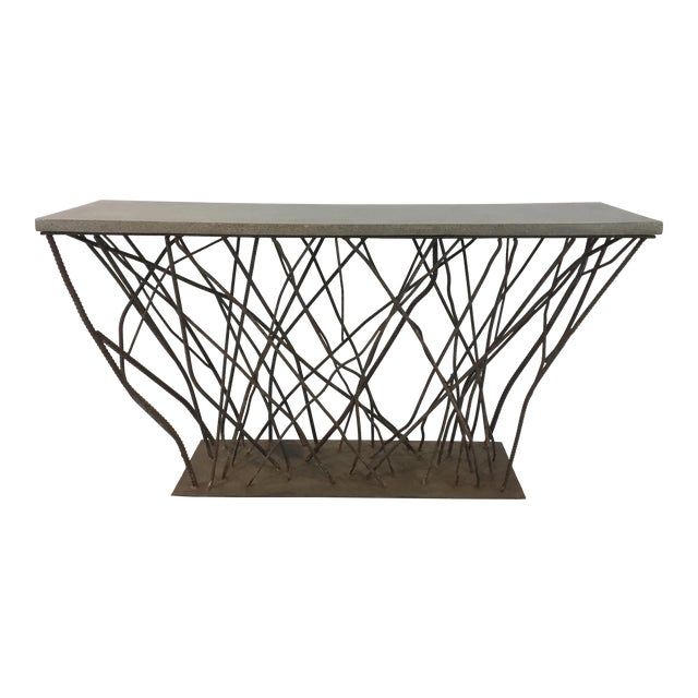 Industrial Modern Currey & Co. Concrete and Rebarb Prototype Console Table For Sale