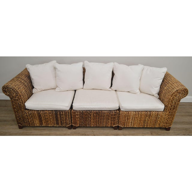 Rush Pottery Barn Seagrass Sectional Sofa For Sale - Image 7 of 13