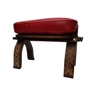 Red Moroccan Handmade Leather Bench For Sale