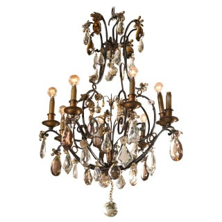 Jansen Wrought Iron Crystal Chandelier For Sale