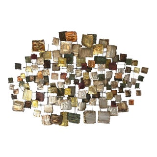 Brutalist Metal Squares Wall Sculpture For Sale
