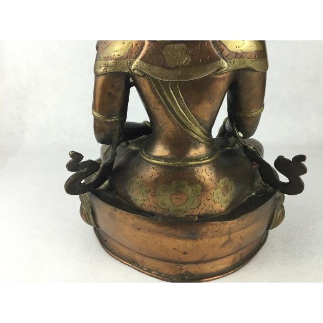 Gold Vintage Tibetan Buddha Bronze-Cast Statue For Sale - Image 8 of 11