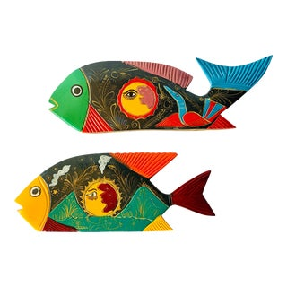 Vintage Mexican Oaxaca Hand Painted Carved Wood Fish - a Pair For Sale