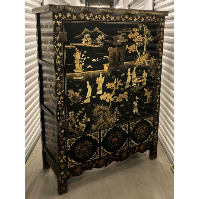 Vintage Chinese Black Lacquer Chinoiserie Cabinet For Sale - Image 9 of 9