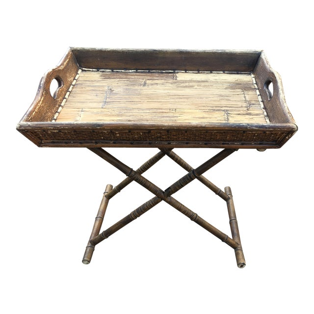 1950s Boho Chic Tray Table With Folding Base For Sale