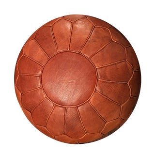 Retro Pouf by Mpw Plaza, Brown (Cover), Moroccan Leather Pouf Ottoman For Sale