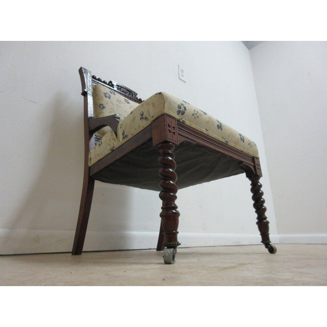 Walnut Antique Victorian Carved Walnut Lounge Chair For Sale - Image 7 of 10
