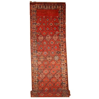 Handmade Antique Persian Kurdish Runner - 3.2' X 12.2' For Sale