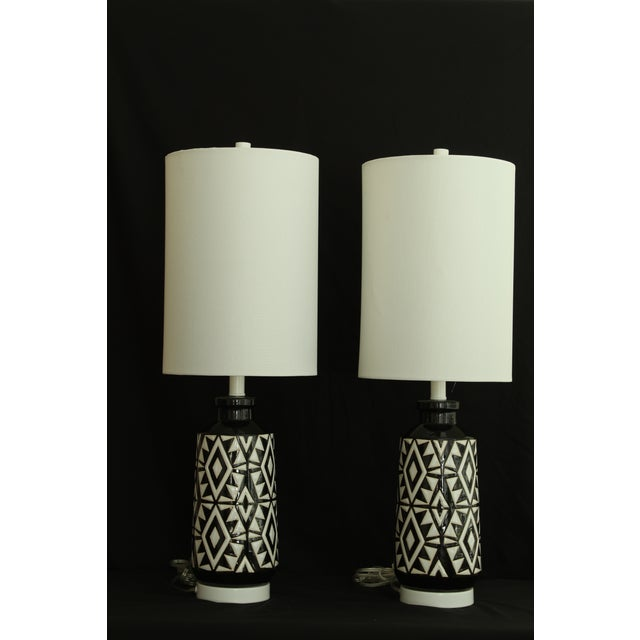 1960s Geometric Ceramic Table Lamps - A Pair For Sale - Image 5 of 7