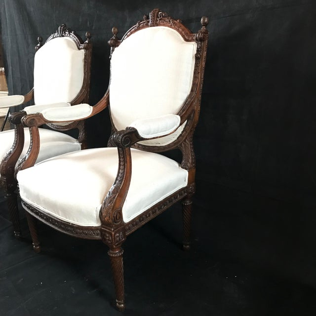 Wood French Carved Walnut Armchairs - a Pair For Sale - Image 7 of 11