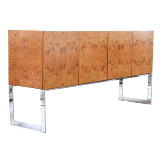Mid Century Burlwood Sideboard by Milo Baughman for Thayer Coggin C. 1960 For Sale