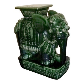 Vintage Green Ceramic Elephant Garden Stool