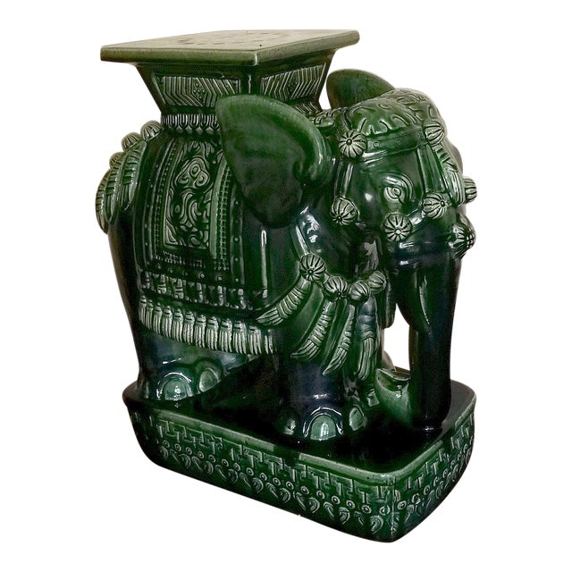 Vintage Green Ceramic Elephant Garden Stool | Chairish