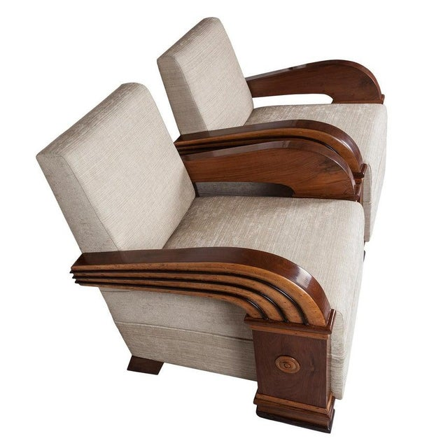 Art Deco Art Deco Upholstered Teak Loveseat & Chairs Living Room Set - 3 Pc. For Sale - Image 3 of 11