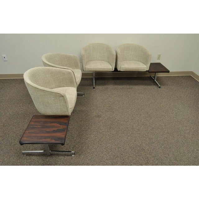 Item: Vintage 2 piece Danish Modern seating arrangement Details: Each section consists of 2 barrel back chairs and an...
