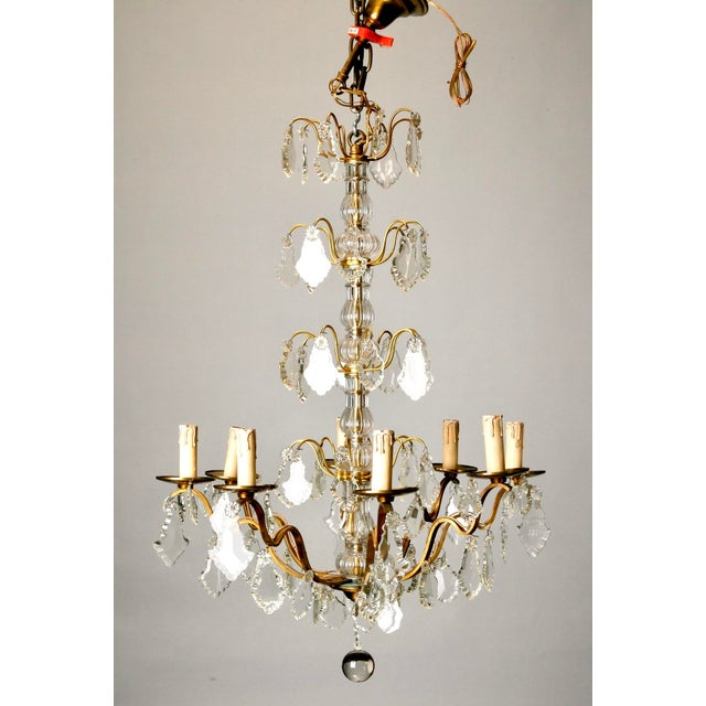 French Eight Light Brass, Glass & Crystal Chandelier, C.1920 - Image 2 of 9