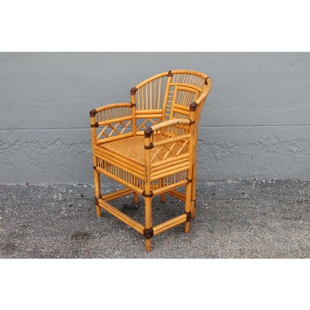 Vintage Palm Beach Regency Rattan Armchair For Sale - Image 4 of 11