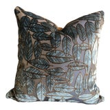 Image of Pollack Leaf Plush Night Forest Blue Jacquard Velvet Pillows With Brown Velvet Backing For Sale