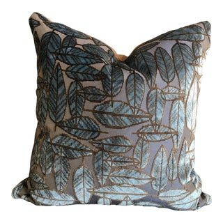 Pollack Leaf Plush Night Forest Blue Jacquard Velvet Pillows With Brown Velvet Backing