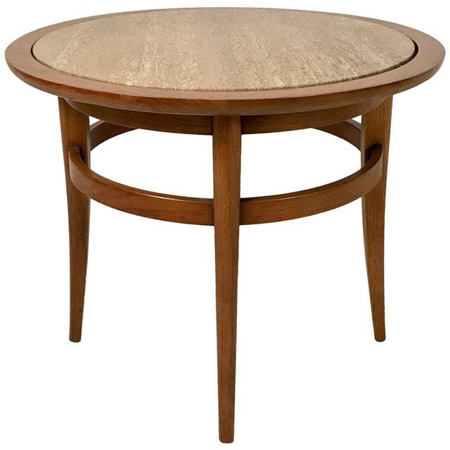 Drexel Meridian Pecan and Italian Travertine Lamp or End Table For Sale In New York - Image 6 of 6