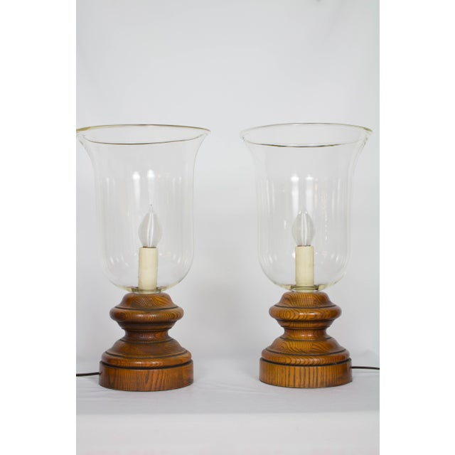 American 20th Century Americana Glass and Wood Hurricane Lamps - a Pair For Sale - Image 3 of 5