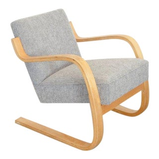 Alvar Aalto 34/402 Model Cantilever Chair in Pierre Frey For Sale