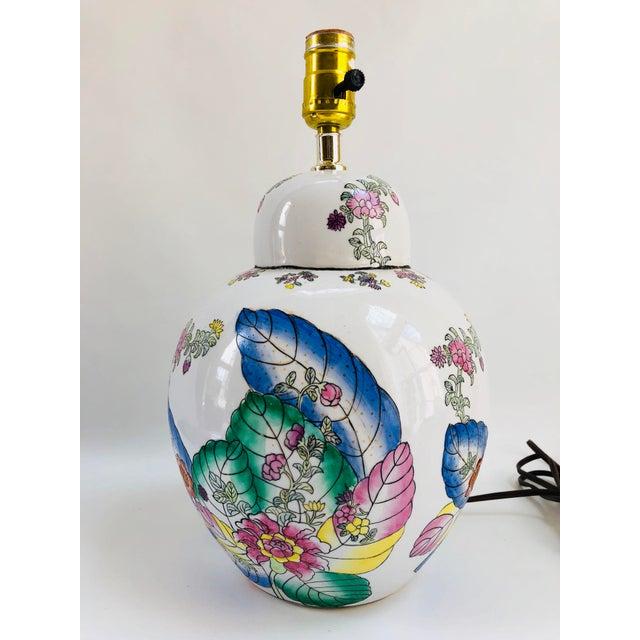Vintage Tobacco Leaf Ginger Jar Table Lamp For Sale In Boston - Image 6 of 6