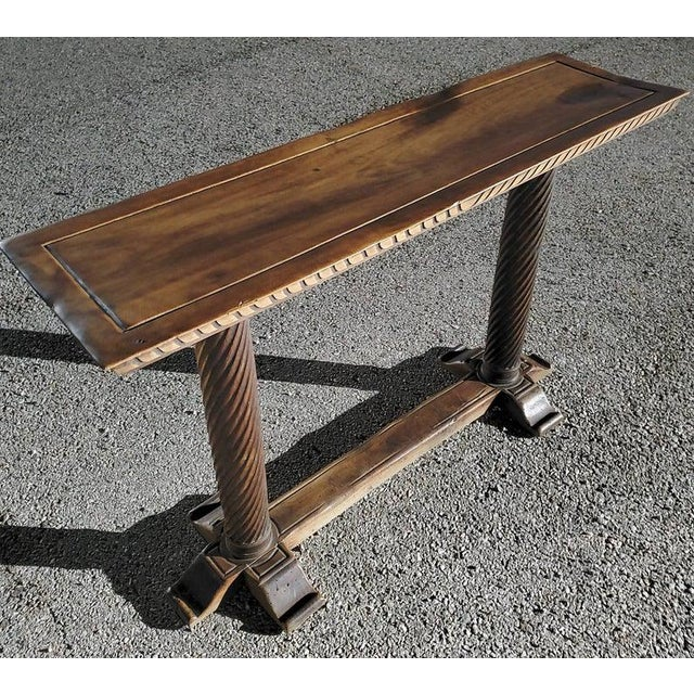 Early 20th Century Early 20th Century Spanish Baroque Old World Console Table For Sale - Image 5 of 11