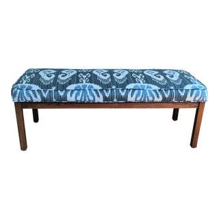 Blue & White Ikat Upholstered Bench For Sale