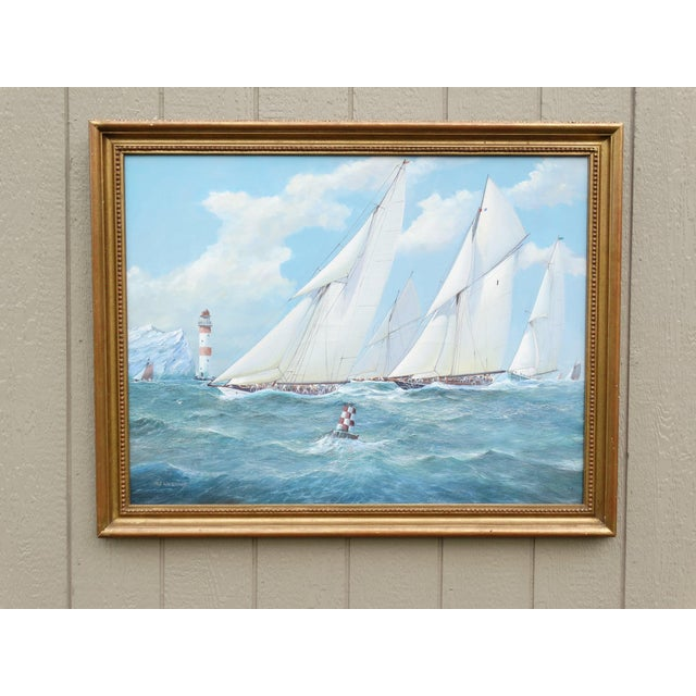 Ink Blue Nautical Yacht Racing Oil on Canvas, Michael Whitehand For Sale - Image 8 of 12